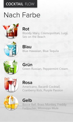 Cocktail Flow App sort by color