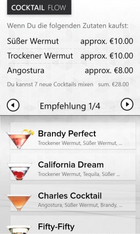 Cocktail Flow App content screen
