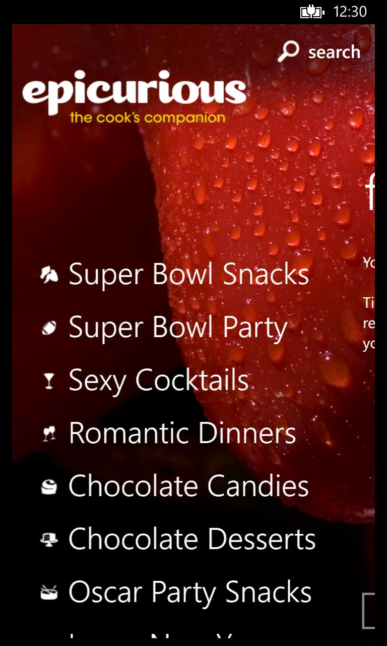 Epicurious App list view