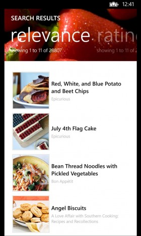 Epicurious App search results