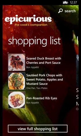 Epicurious App shoppinglist