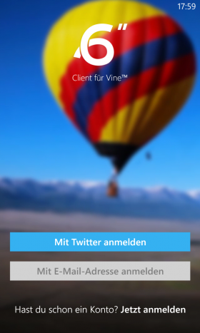 Windowsphone App 6sec login screen