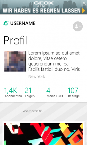 Windowsphone App 6sec User profile